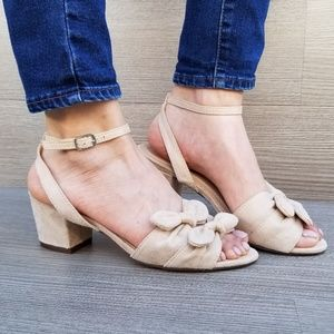 Shoes - Nude Bow Design Low Block Heel Spring Sandal-D